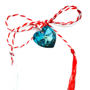 Martisor Pandantiv Inimioara Bermuda Blue - Cristal Swarovski