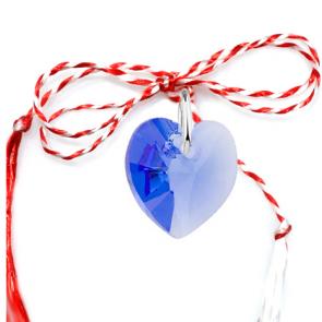 Martisor Pandantiv Inimioara Blue Sapphire - Cristal Swarovski
