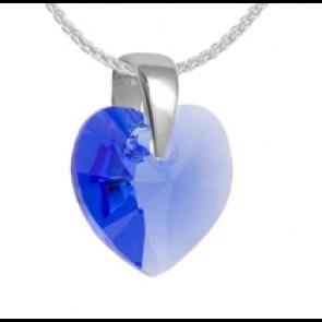 Pandantiv Albastru Safir - Inimioara Cristal Swarovski
