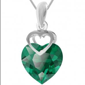 Pandantiv Inimioara - Cristal Swarovski Verde Smarald