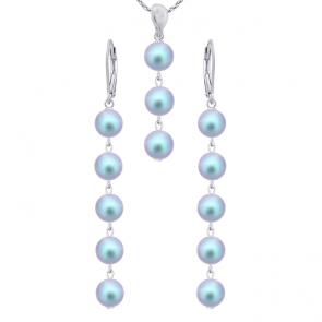 Set Iridescent Blue - Perle Swarovski