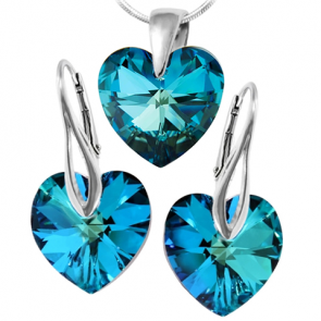 Set  Bermuda Blue - Inimioare Cristale Swarovski