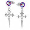 Cercei Crucifix - Cristale Swarovski Light Siam Shimmer