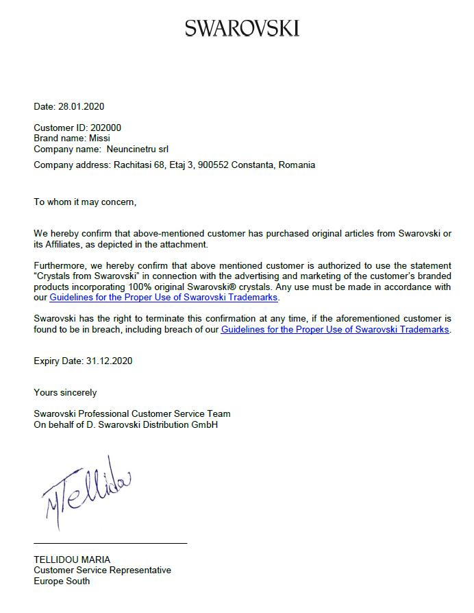 Certificat Confirmare Achizitie Cristale Swarovski