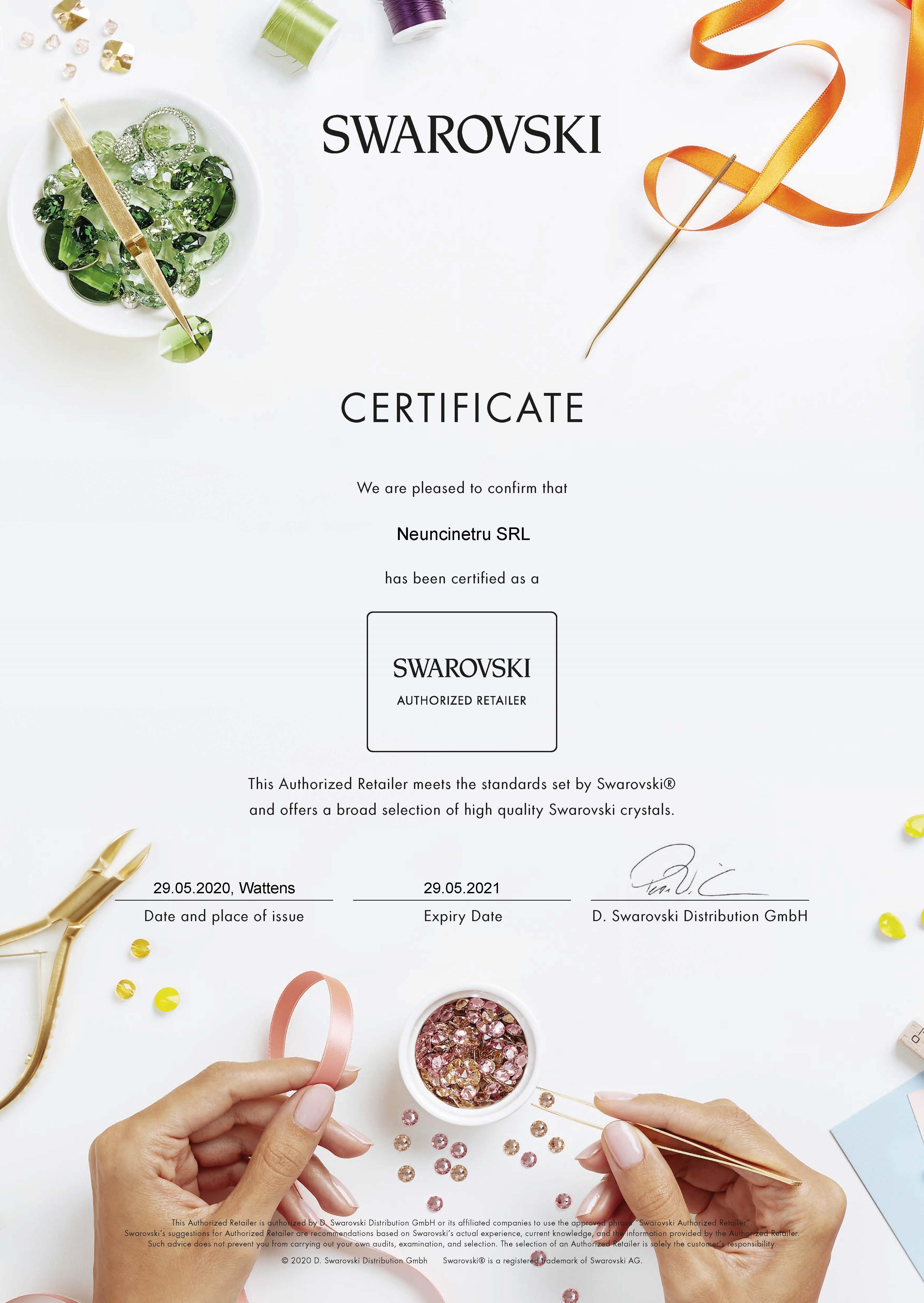 Certificat Retailer Autorizat Cristale Swarovski